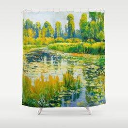 Václav Radimský (1867-1946) Water Lilies Impressionist Landscape Painting Bright Colors Oil Shower Curtain