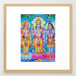 Hindu Trinity Brahma Vishnu Shiva Yoga Buddism Poster Art India Framed Art Print