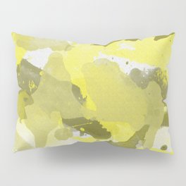 Yellow Splatters Watercolor Illustration - Patchy Camo Pillow Sham