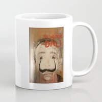 salvador dali Mugs featuring 50 Artists: Salvador Dali by Chad Beroth