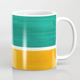 Colorful Bright Minimalist Rothko Minimalist Midcentury Art Marine Green Gold Vintage Pop Art Coffee Mug