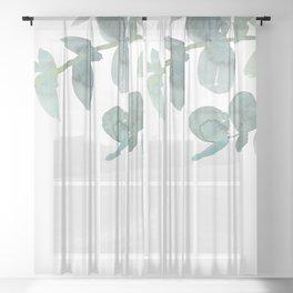 Eucalyptus greenery on white Sheer Curtain