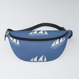 White Sailboat Pattern on cobalt blue background Fanny Pack