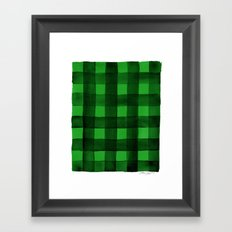 Buffalo Plaid Watercolor in Green Framed Art Print