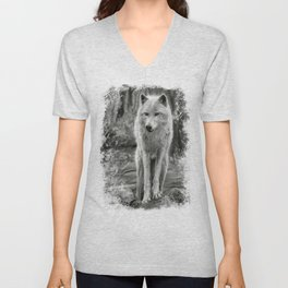 White Wolf in the Forest Unisex V-Neck