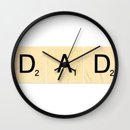 DAD - Horizontal Scrabble Tile Art and Accessories for Father's Day Wall Clock