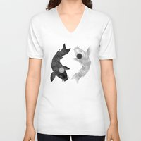 aang V-neck T-shirts featuring Yin Yang Koi by chardeekellys