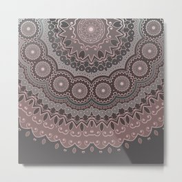 Mandala Spirit, Rose Pink, Gray Metal Print