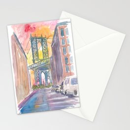 Very Special View To Manhattan Bridge New York at Sunset Stationery Cards