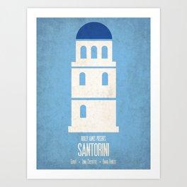 Santorini - Minimalist Board Games 01 Art Print