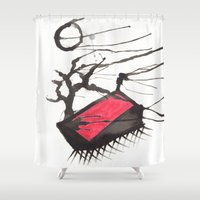 ruby Shower Curtains featuring Ruby by Lindsey Quakenbush
