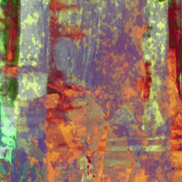 Overexposed - Abstract, textured painting in brown, orange and green Leggings