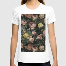 Vintage Roses and Iris Pattern - Dark Dreams T-shirt