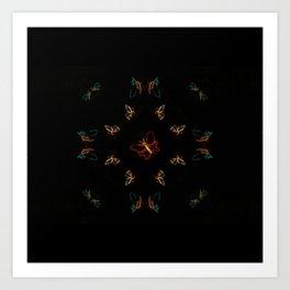Christmas Lights Pattern - Butterfly Art Print