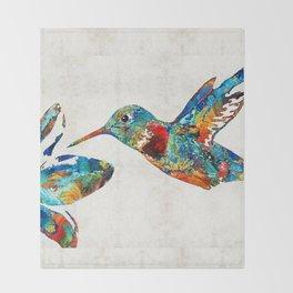 Colorful Hummingbird Art by Sharon Cummings Throw Blanket