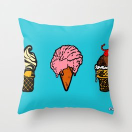 """Three Scoops"" Throw Pillow"