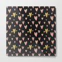 Rose Gold Hearts with Yellow Gold Hearts on Black by naturemagick