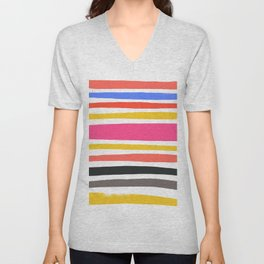 Streifen 001 / Multicolor Stripe Pattern Unisex V-Neck