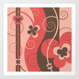 Modern Retro Butterfly Floral Graphic Art Art Print