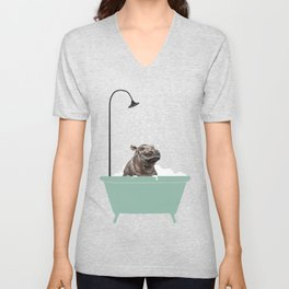 Hippo Enjoying Bubble Bath Unisex V-Neck
