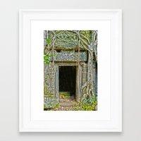 tomb raider Framed Art Prints featuring Tomb Raider Doorway Cambodia by Brian Raggatt