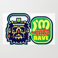rave Area & Throw Rugs featuring I'm Into Rave by chobopop