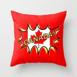 Canadian Flag Comic Style Starburst Throw Pillow