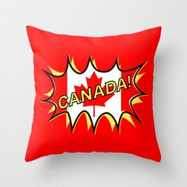 Canadian Flag Comic Style Starburst Throw Pillow