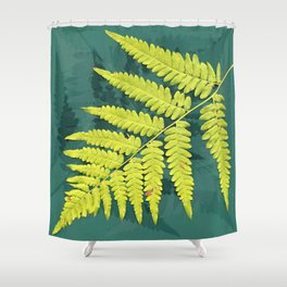 From the forest - lime green on teal Shower Curtain