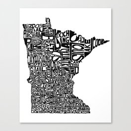 Typographic Minnesota Canvas Print