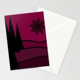 Mulled Berry Wine Snow Flake and Trees Stationery Cards