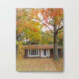 House Among The Crimson And Green Metal Print