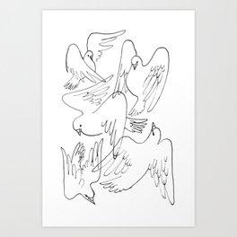 Doves flying Art Print