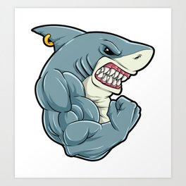 Shark At The Gym   Fitness Training Muscles Art Print