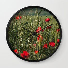 Italian Countryside Red Poppies Wall Clock