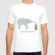 Elephant Friends Mens Fitted Tee White MEDIUM