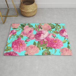 Vintage & Shabby Chic - Summery Rose Flowers Garden Pattern Rug