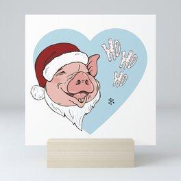 Pig in Santa costume Mini Art Print