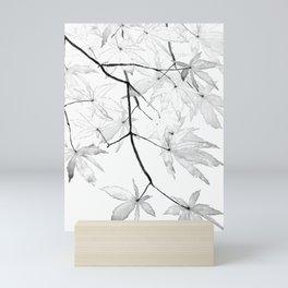 black and white maple leaves Mini Art Print