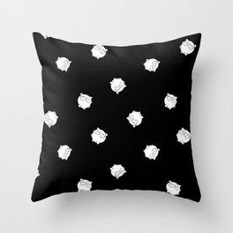 Round Bunny Pattern- White Black Throw Pillow