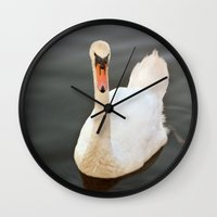 black swan Wall Clocks featuring Swan by Lynn Bolt