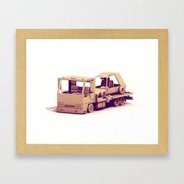 Hauler + Race Car Framed Art Print