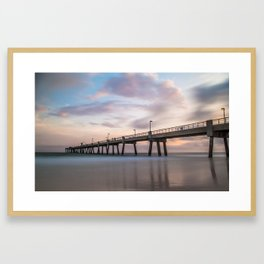 Pastel Colors at the Fishing Pier Framed Art Print