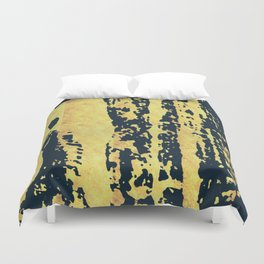 Conquer: a bold, pretty abstract piece in gold and midnight blue Duvet Cover