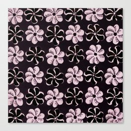 Floral design Black & Light Fuchsia Flowers Print Canvas Print