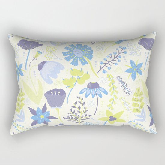 Blue and Purple Wildflowers Rectangular Pillow