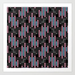 BRIXHAM, RETRO SQUARES: PINK and BLUE on BLACK Art Print