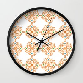 Orange Colorful Mandala Ornaments Wall Clock