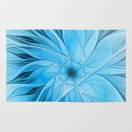 Blue Flower, Abstract Fractal Art Rug