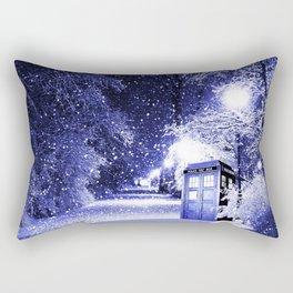 The Winter Tardis Rectangular Pillow
